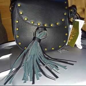 Like Dreams Faux Leather /stud Tassel Crossbody